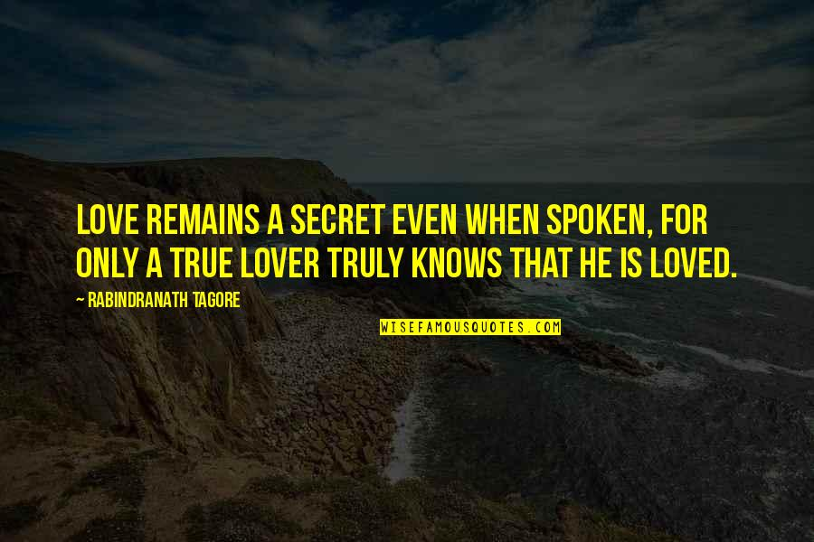 A Secret Love Quotes By Rabindranath Tagore: Love remains a secret even when spoken, for