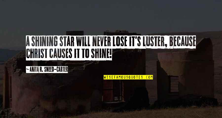 A Shining Star Quotes By Anita R. Sneed-Carter: A shining star will never lose it's luster,