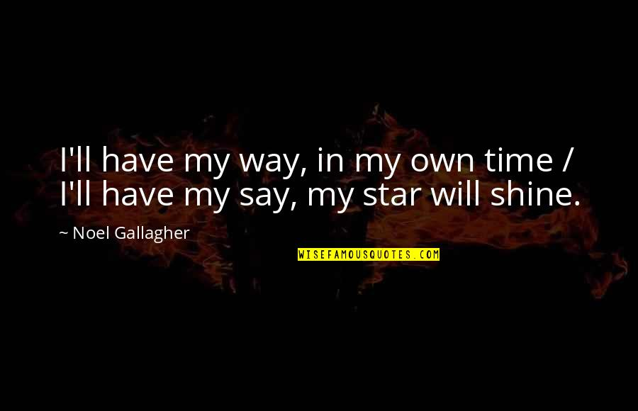 A Shining Star Quotes By Noel Gallagher: I'll have my way, in my own time
