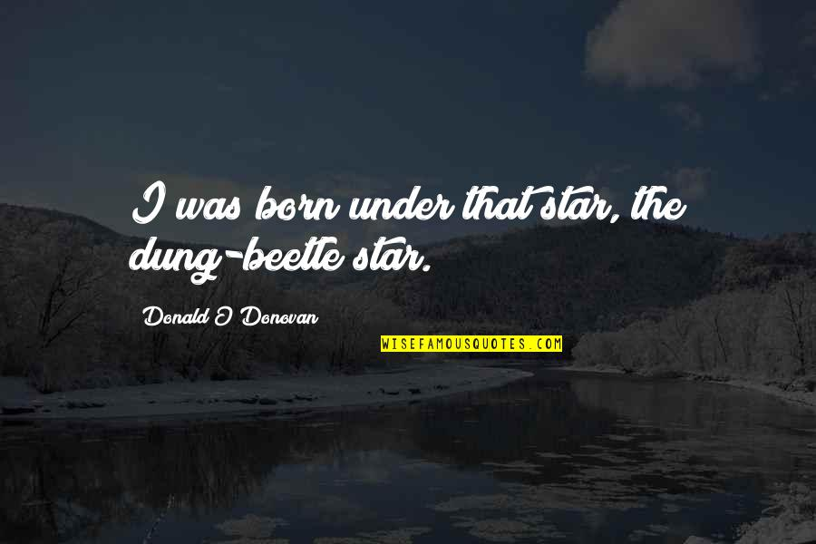 A Star Was Born Quotes By Donald O'Donovan: I was born under that star, the dung-beetle