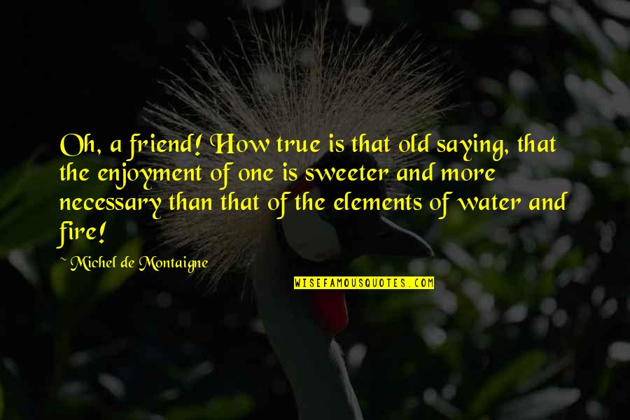 A True Friendship Quotes By Michel De Montaigne: Oh, a friend! How true is that old
