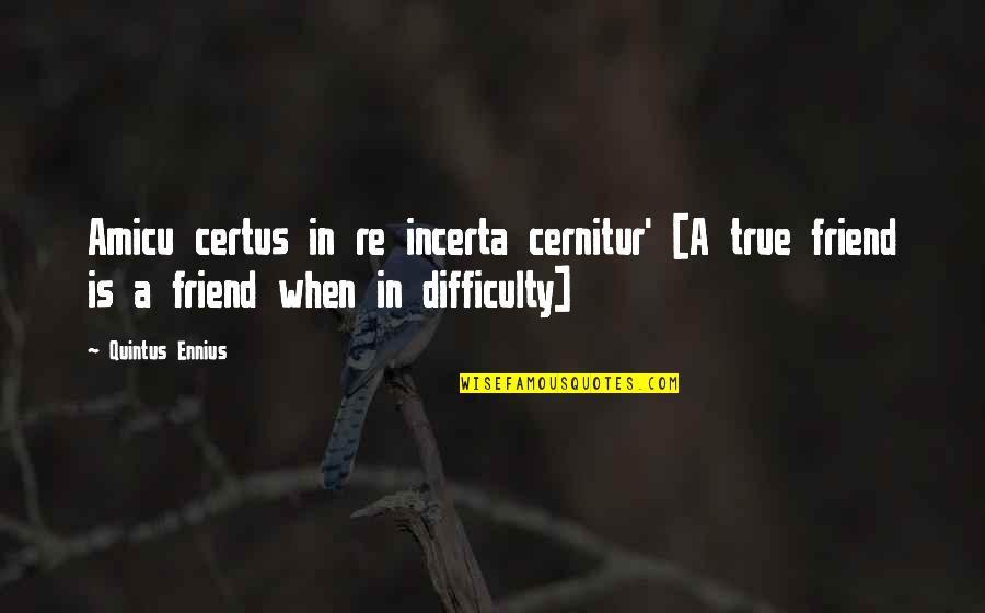 A True Friendship Quotes By Quintus Ennius: Amicu certus in re incerta cernitur' [A true
