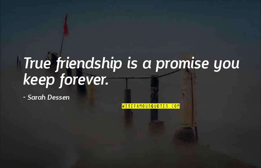 A True Friendship Quotes By Sarah Dessen: True friendship is a promise you keep forever.