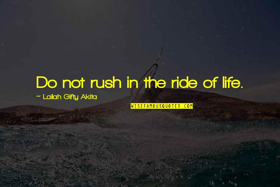 A Whole Nother Story Quotes By Lailah Gifty Akita: Do not rush in the ride of life.