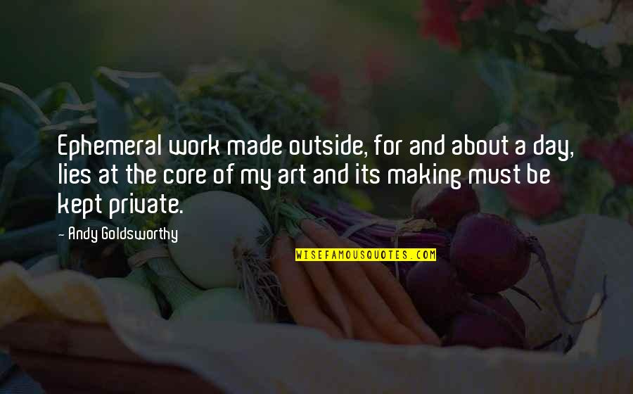 A Work Of Art Quotes By Andy Goldsworthy: Ephemeral work made outside, for and about a