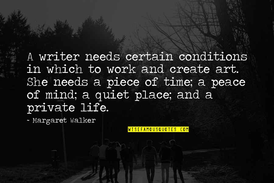 A Work Of Art Quotes By Margaret Walker: A writer needs certain conditions in which to