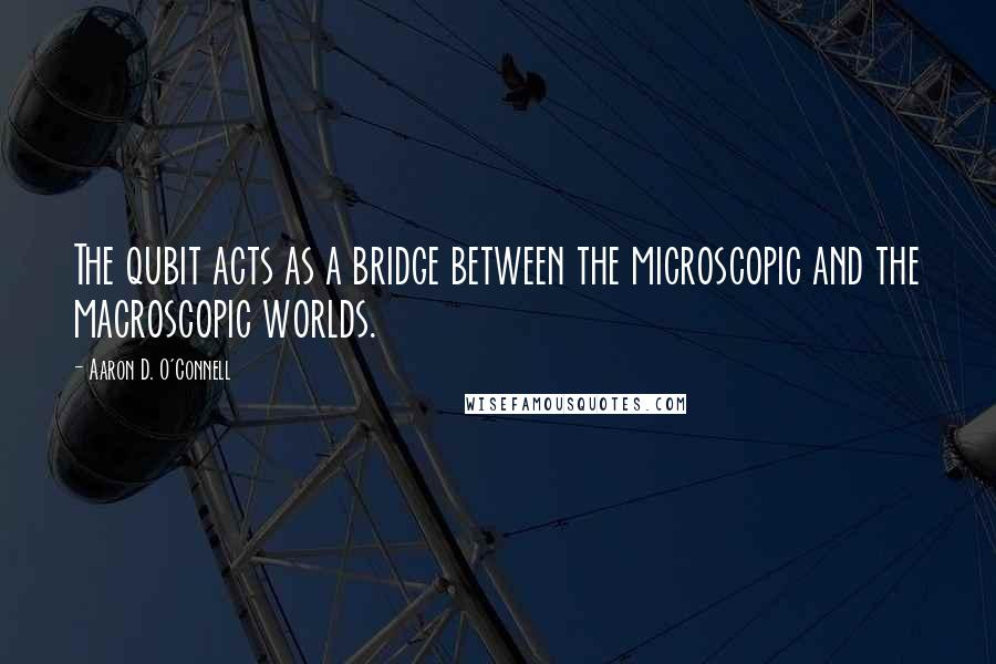 Aaron D. O'Connell quotes: The qubit acts as a bridge between the microscopic and the macroscopic worlds.