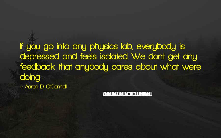 Aaron D. O'Connell quotes: If you go into any physics lab, everybody is depressed and feels isolated. We don't get any feedback that anybody cares about what we're doing.