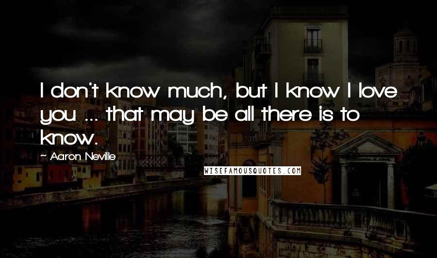 Aaron Neville quotes: I don't know much, but I know I love you ... that may be all there is to know.