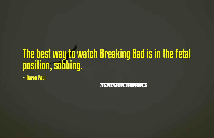 Aaron Paul quotes: The best way to watch Breaking Bad is in the fetal position, sobbing.