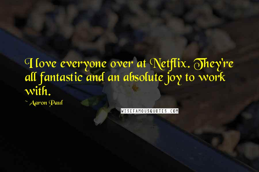 Aaron Paul quotes: I love everyone over at Netflix. They're all fantastic and an absolute joy to work with.