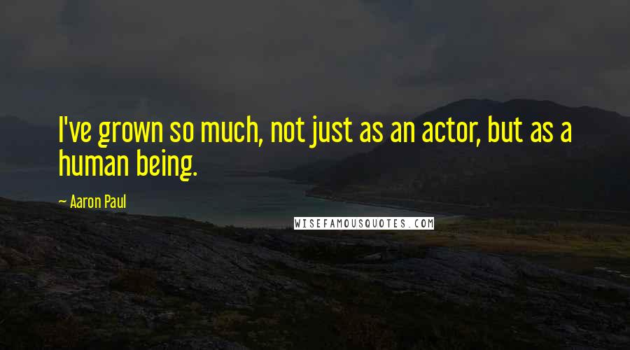 Aaron Paul quotes: I've grown so much, not just as an actor, but as a human being.