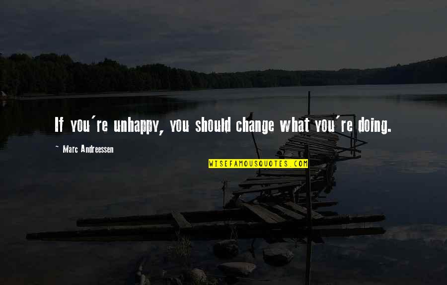 Aaron Sorkin Movie Quotes By Marc Andreessen: If you're unhappy, you should change what you're