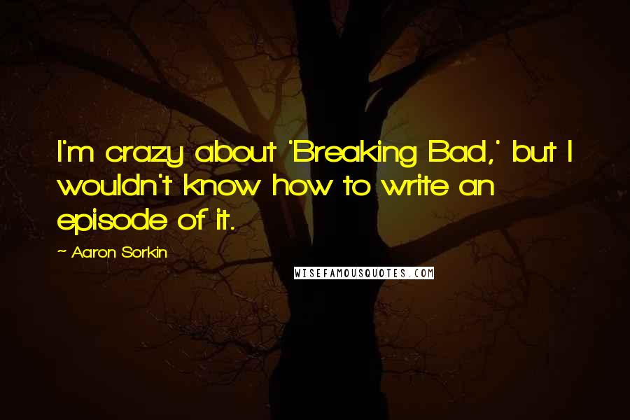 Aaron Sorkin quotes: I'm crazy about 'Breaking Bad,' but I wouldn't know how to write an episode of it.