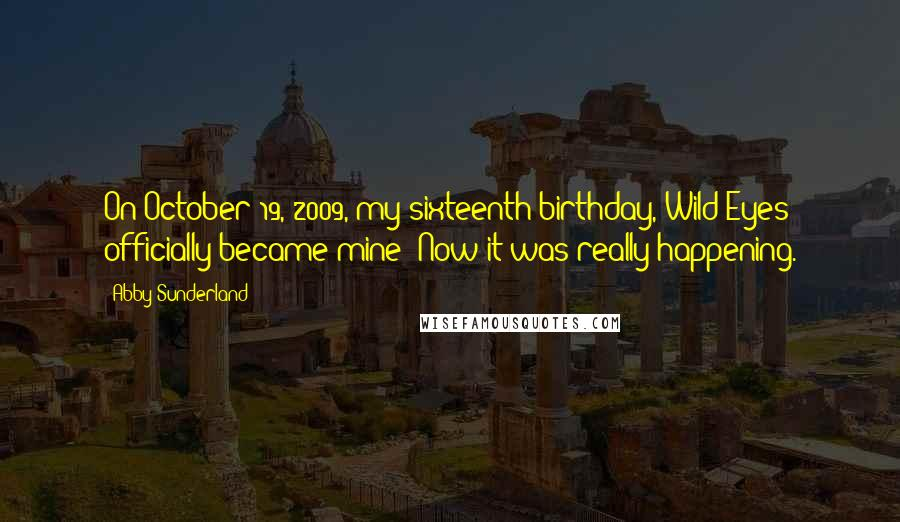 Abby Sunderland quotes: On October 19, 2009, my sixteenth birthday, Wild Eyes officially became mine! Now it was really happening.