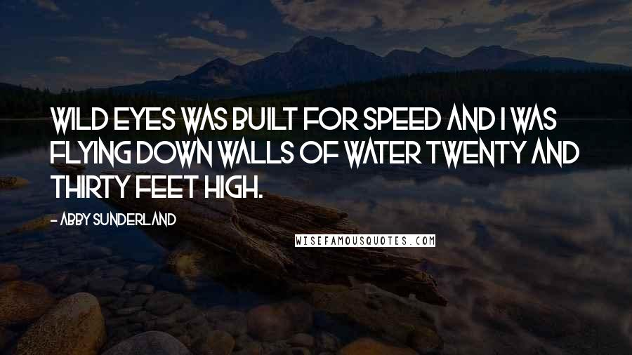 Abby Sunderland quotes: Wild Eyes was built for speed and I was flying down walls of water twenty and thirty feet high.