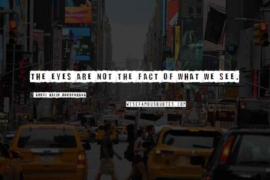 Abdel Halim Boudekhana quotes: The eyes are not the fact of what we see.