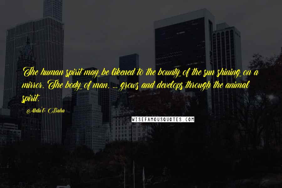Abdu'l- Baha quotes: The human spirit may be likened to the bounty of the sun shining on a mirror. The body of man, ... grows and develops through the animal spirit.