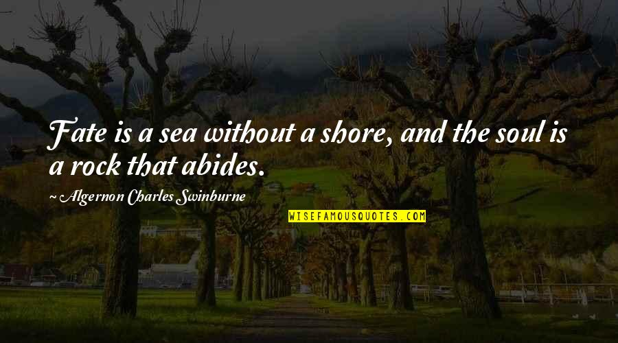 Abides Quotes By Algernon Charles Swinburne: Fate is a sea without a shore, and
