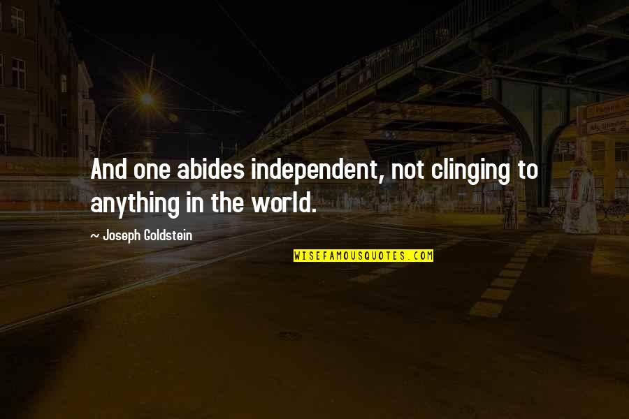 Abides Quotes By Joseph Goldstein: And one abides independent, not clinging to anything