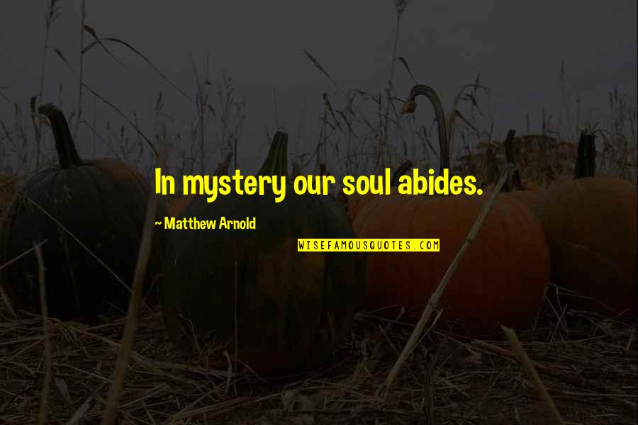 Abides Quotes By Matthew Arnold: In mystery our soul abides.