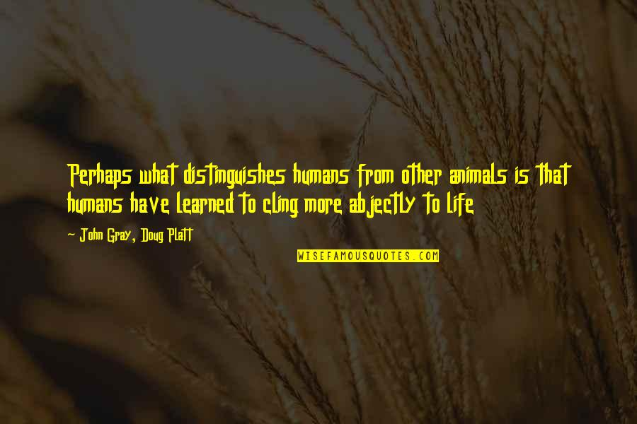 Abjectly Quotes By John Gray, Doug Platt: Perhaps what distinguishes humans from other animals is