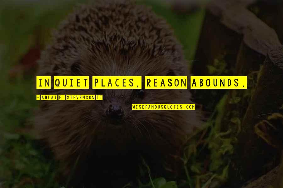 Abounds Quotes By Adlai E. Stevenson II: In quiet places, reason abounds.