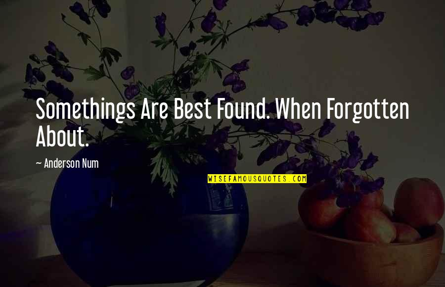 About Motivational Quotes By Anderson Num: Somethings Are Best Found. When Forgotten About.