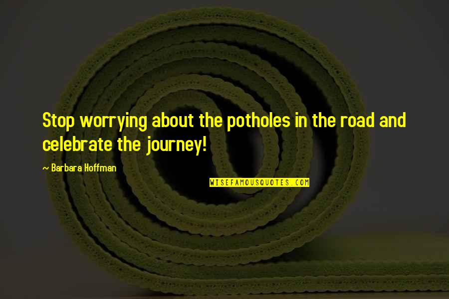About The Journey Quotes By Barbara Hoffman: Stop worrying about the potholes in the road