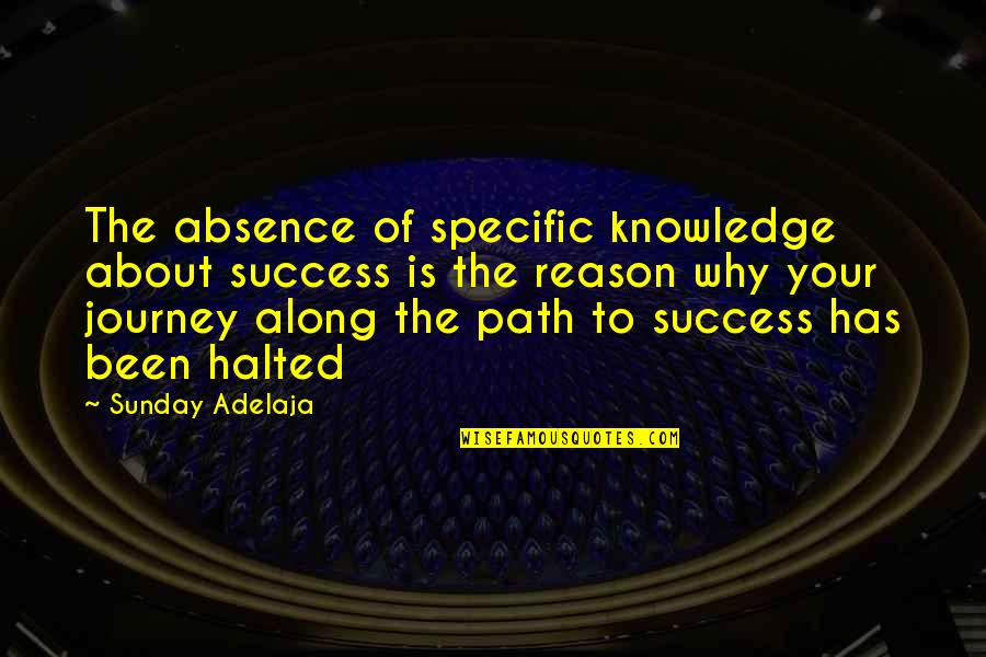 About The Journey Quotes By Sunday Adelaja: The absence of specific knowledge about success is