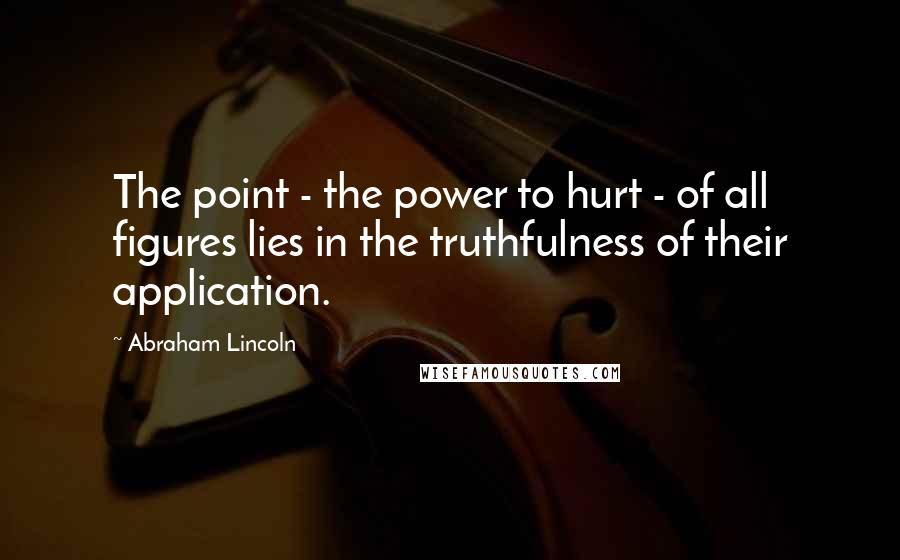 Abraham Lincoln quotes: The point - the power to hurt - of all figures lies in the truthfulness of their application.