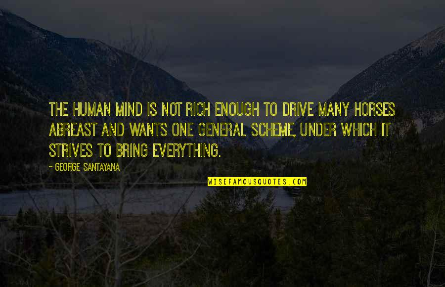 Abreast Quotes By George Santayana: The human mind is not rich enough to