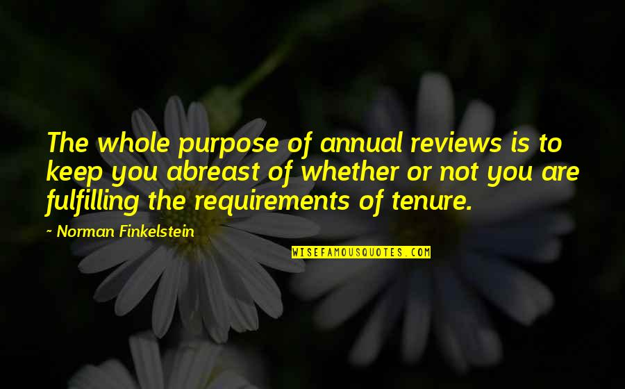 Abreast Quotes By Norman Finkelstein: The whole purpose of annual reviews is to