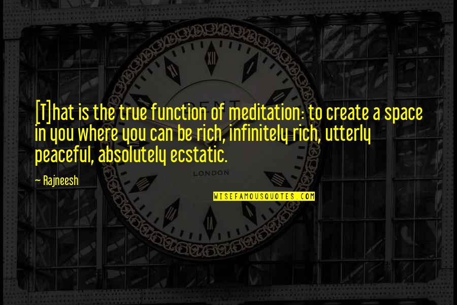 Absolutely True Quotes By Rajneesh: [T]hat is the true function of meditation: to