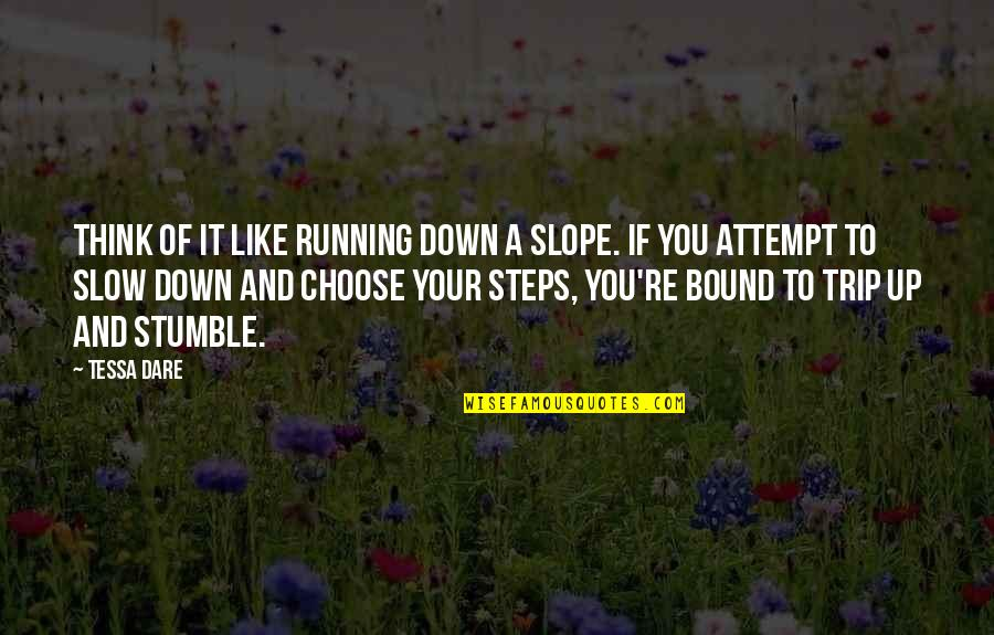 Absolutively Quotes By Tessa Dare: Think of it like running down a slope.