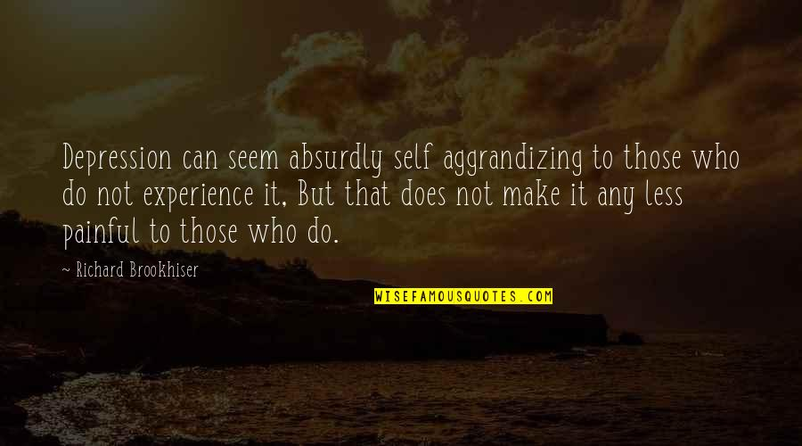 Absurdly Quotes By Richard Brookhiser: Depression can seem absurdly self aggrandizing to those