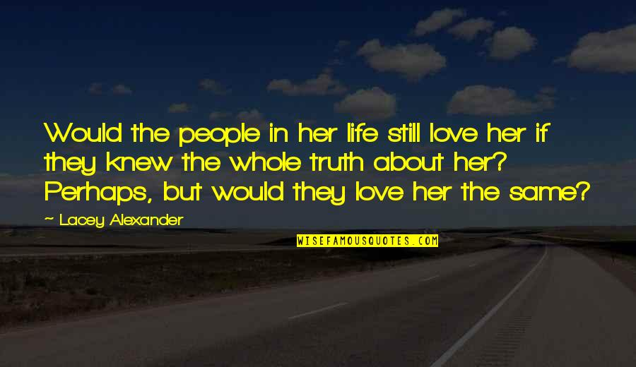 Acceptance Love Quotes By Lacey Alexander: Would the people in her life still love