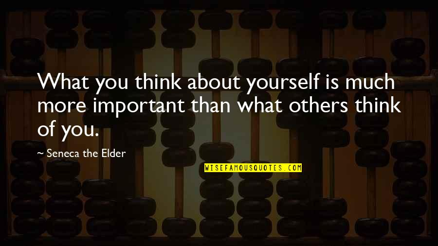 Acceptance Of Yourself Quotes By Seneca The Elder: What you think about yourself is much more