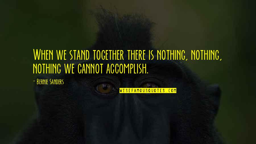 Accomplish More Together Quotes By Bernie Sanders: When we stand together there is nothing, nothing,