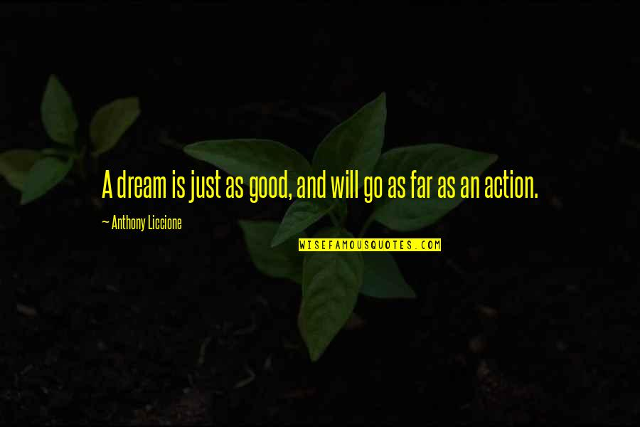 Accomplishing Goals Quotes By Anthony Liccione: A dream is just as good, and will