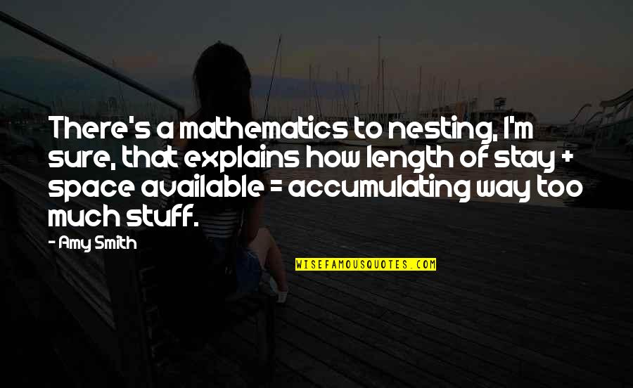 Accumulating Stuff Quotes By Amy Smith: There's a mathematics to nesting, I'm sure, that