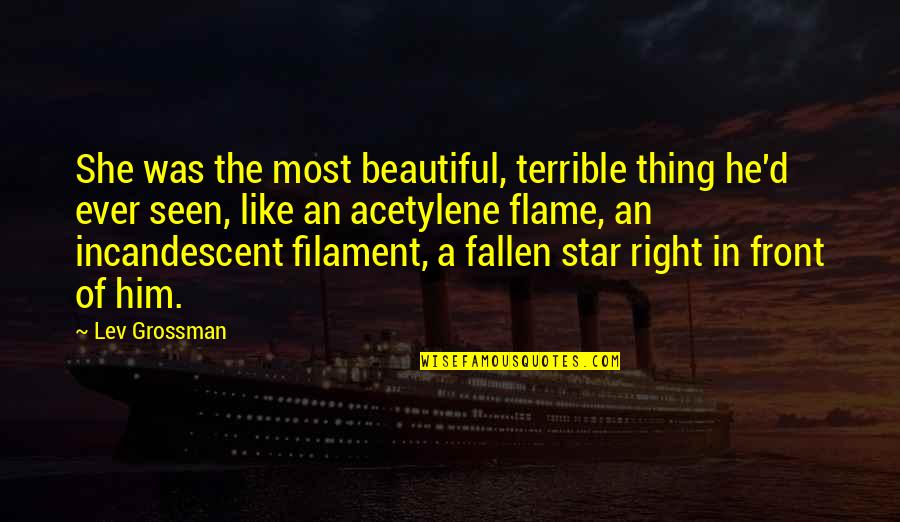 Acetylene Quotes By Lev Grossman: She was the most beautiful, terrible thing he'd