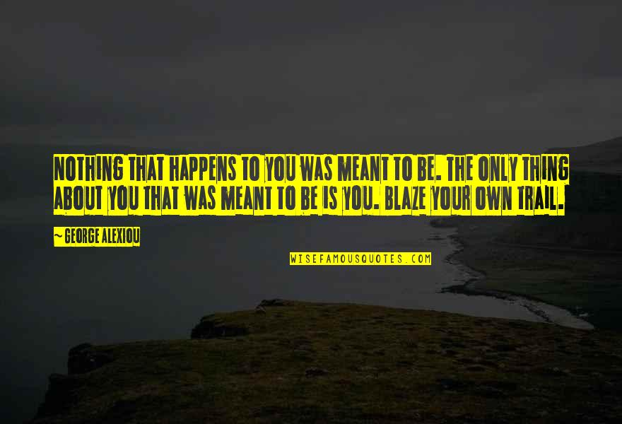 Achievement And Happiness Quotes By George Alexiou: Nothing that happens to you was meant to