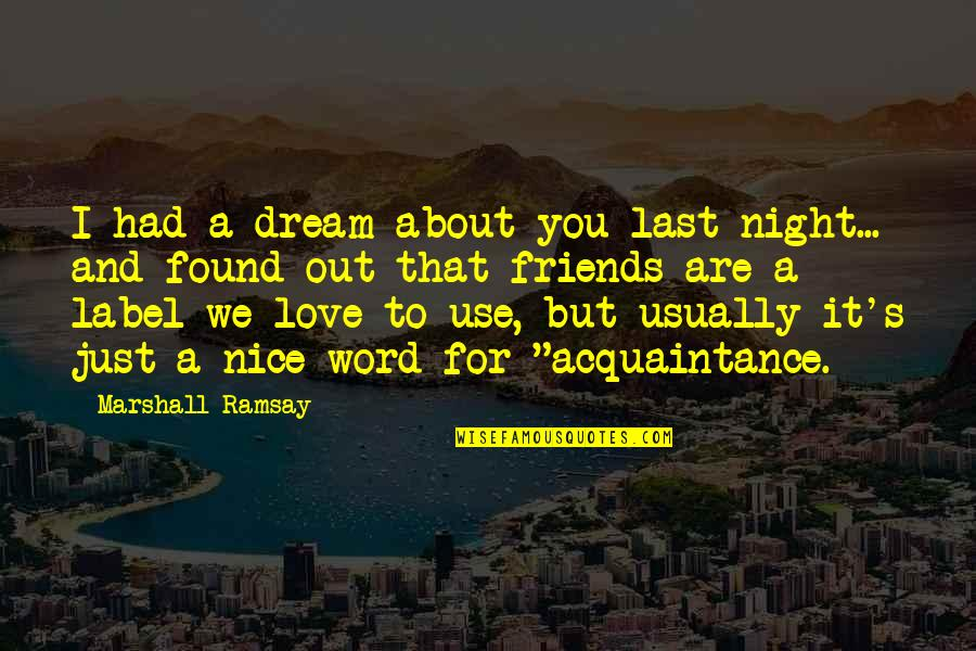 Acquaintance Friendship Quotes By Marshall Ramsay: I had a dream about you last night...
