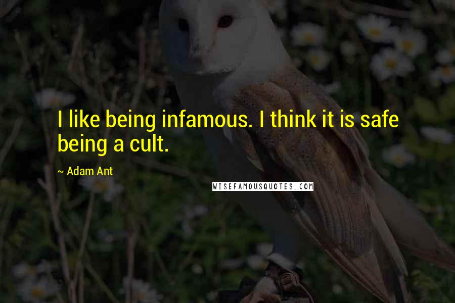 Adam Ant quotes: I like being infamous. I think it is safe being a cult.