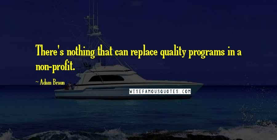 Adam Braun quotes: There's nothing that can replace quality programs in a non-profit.