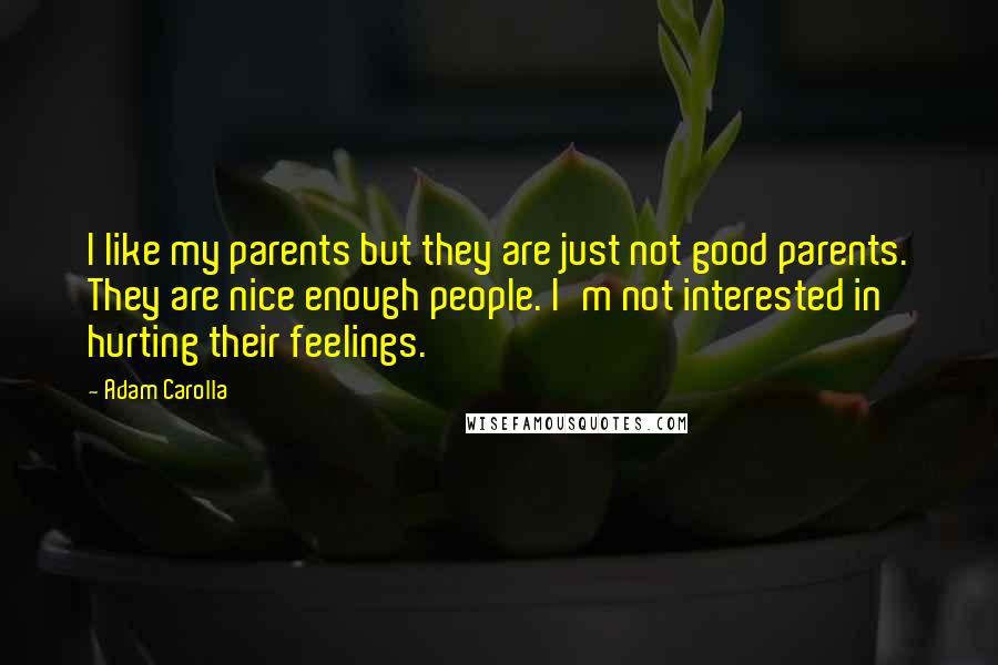 Adam Carolla quotes: I like my parents but they are just not good parents. They are nice enough people. I'm not interested in hurting their feelings.