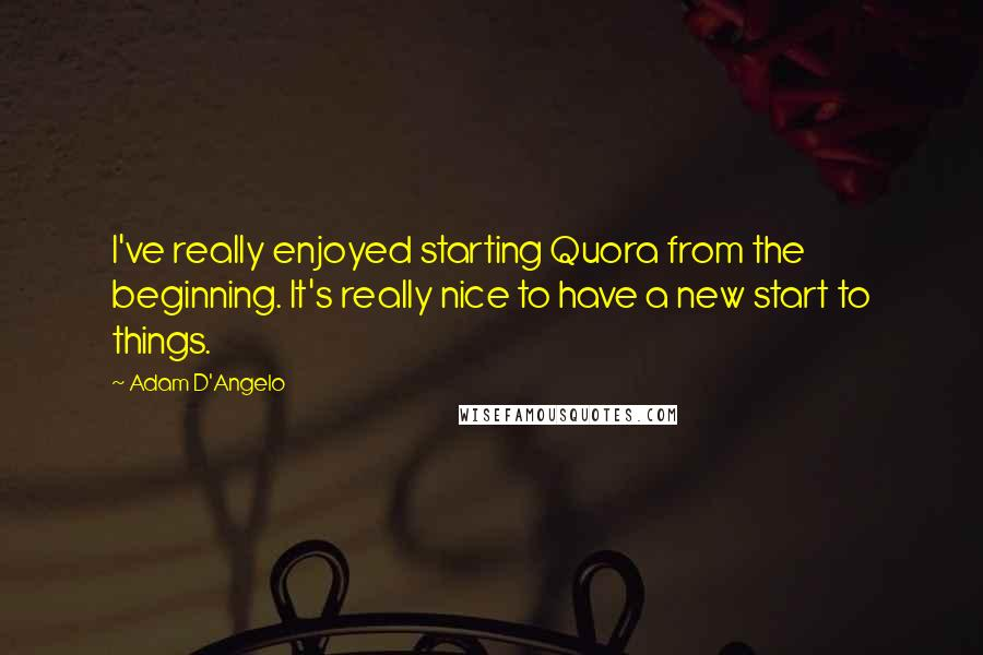 Adam D'Angelo quotes: I've really enjoyed starting Quora from the beginning. It's really nice to have a new start to things.