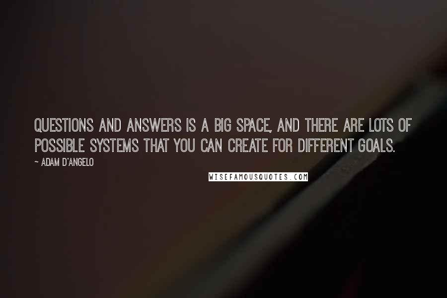 Adam D'Angelo quotes: Questions and answers is a big space, and there are lots of possible systems that you can create for different goals.