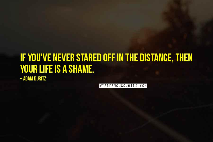 Adam Duritz quotes: If you've never stared off in the distance, then your life is a shame.